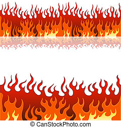 Flame Banner Set - An image of a set of flame fire banner...