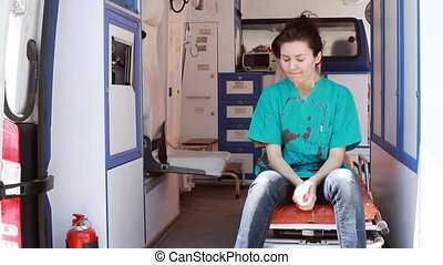 nurse thinking in ambulance 2