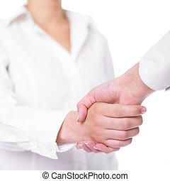 Handshake Handshaking - Two hands in Handshake - Business...