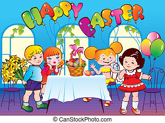 Happy Easter. Vector art-illustration.