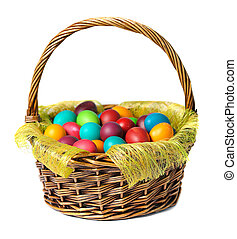 Easter eggs in basket with white lily  on white background