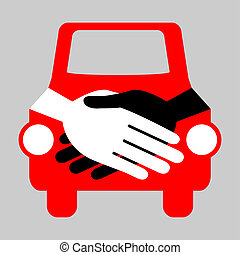 Car handshake design.  - Car handshake deal concept.