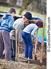 Three generations working the land - Three generations...