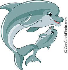 Dolphin mother and baby - Dolphin mother and baby isolated...