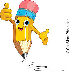 Pencil Character giving thumbs up - Illustration of a Pencil...