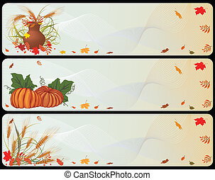 set of autumnal banners with pumpkins, cereals and...