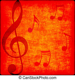 music notes on grunge - music notes on bright orange red...