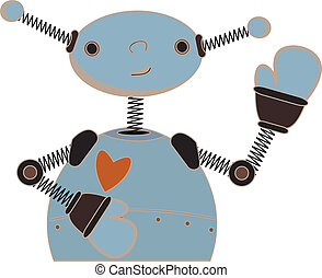 Cute blue robot waving cartoon - Illustration of childlike...