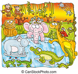 forest animals, elephant, crocodile, hippopotamus, monkeys,...