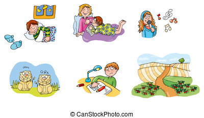 children sleep, study, sing, plowed field