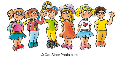 kids sporting colorful clothes, summer