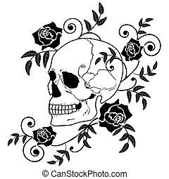 cráneo, rosas