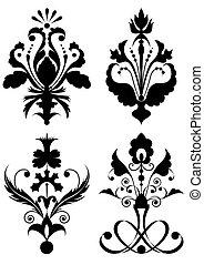 set, stilizzato, fiori
