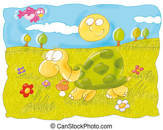 the turtle walks in the park