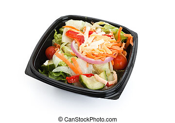 Salad with black box close up