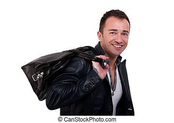 Portrait of a mature man with a handbag, isolated on white. Studio shot