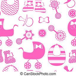 vettore, illustrazione, seamless, fondo, neonato, ragazza,...