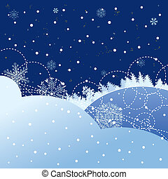 snowfall - New Year vector background with forest and...