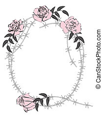 roses and barbed wire - vector frame with roses and barbed...