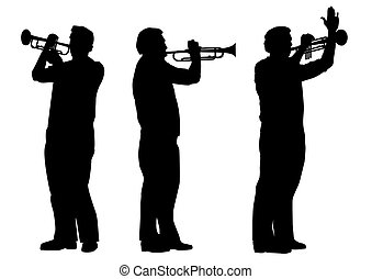 trumpeter - vector set of silhouettes of trumpeter in black...