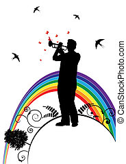 trumpeter, swallow and butterfly - vector banner with...