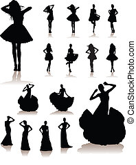 beautiful model girls - vector illustration set of various...