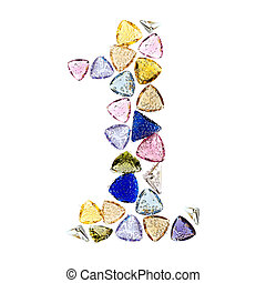 Gemstones numbers collection, figure 1. Isolated on white...