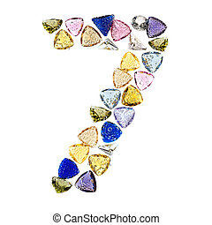 Gemstones numbers collection, figure 7. Isolated on white...