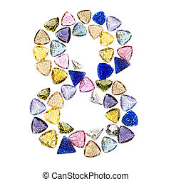 Gemstones numbers collection, figure 8. Isolated on white...