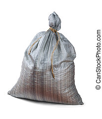 Plastic woven sack - Grey plastic woven sack isolated on...