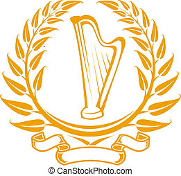 Harp symbol in laurel wreath isolated on white