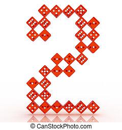 Dice Font. Letter 2 - Dice font letter 2. Red refractive...