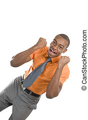 Excited african american business man celebrating - This is...
