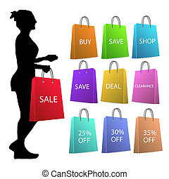 Silhouette of a woman with various colorful shopping bags isolated on a white background.