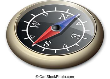 Brass Compass - Vector Illustration Of Brass Compass