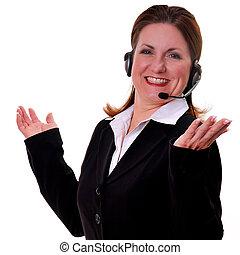 Pretty woman wearing headset