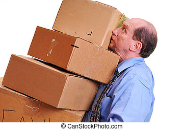 Man carrying heavy boxes. - Business man panicking as he...