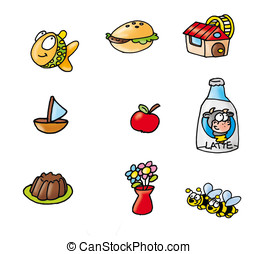 pudding, milk, flowers, fish, bread, flour mill