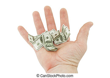Shrinking Dollar - a hand holding a miniature United States...