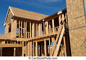 New Home Under Construction Good Blue Sky