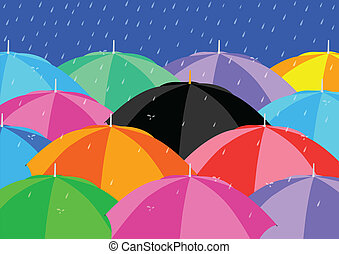 Umbrellas - Black Umbrella among Colourful Umbrellas