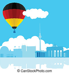 AIR BALLOON_BERLIN - An illustration of Berlin skyline with...