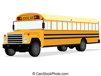 School bus - Big yellow school bus on a white background