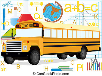 Bus on the background of school sup - School bus on the...