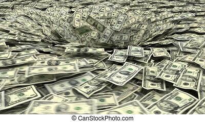dollar vortex - dollar banknotes being sucked into a pit...