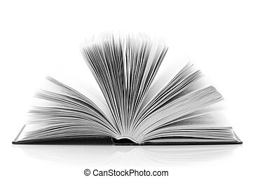 Open book isolated on white background BW image