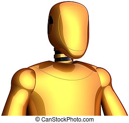 Cyborg research robot golden
