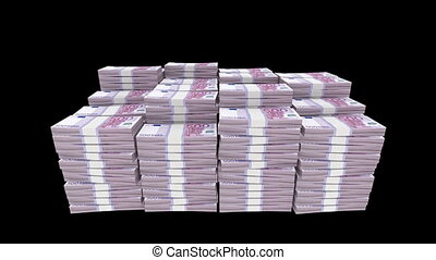 Money Bundles - 3d rendered animation of bundles of euro...