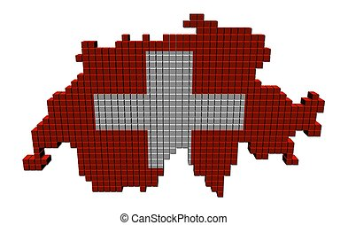 Switzerland map flag made of containers