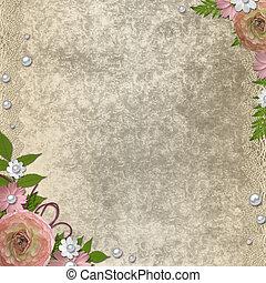 vintage background  - vintage beige  background with roses
